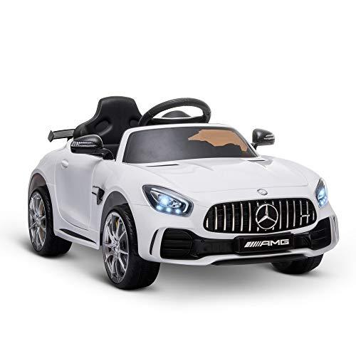 homcom Macchinina per Bambini Elettrica 12V con Licenza Mercedes-AMG GTR, velocità 3-5km/h, Telecomando, Luci e Suoni, Bianca