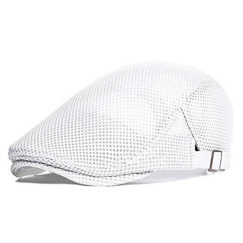 Coucoland Boina para hombre, de verano, con malla, transpirable, diseño de gorra, con visera, accesorio para uso diario Blanco Talla única