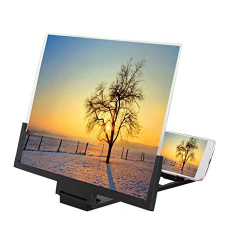 JJIIEE HD-Bildschirmlupe Mit Stereobrille, 12-Zoll-Telefon-3D-Bildschirmlupe, faltbarem Ständer, kein Akku für Filme, Videos, Spiele erforderlich,Schwarz