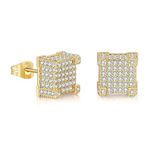 DBMGB Pendiente Chapado en Oro de 18k, Pendientes de Diamante, aretes de Rapero de Desgaste de la Calle Hip Hop, para Hombres de Citas,Oro