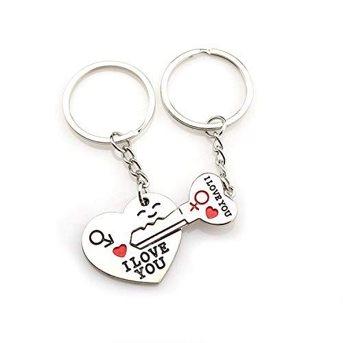 Giftik Juego de 2 llaveros con texto 'I Love You', creativos y hermosos para hombres y mujeres, para parejas, bodas, día de San Valentín, aniversario (plata)