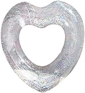 Peach Heart Inflatable Swim Ring, 90Cm PVC Floating Lounger Tube Sequin Inflatable Tube Swim Ring, Suitable for Beach Summer Swimming Pool Swimming Vacation Party