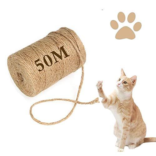 Cuerda de sisal para árbol rascador, cuerda de sisal resistente, cuerda de sisal natural, perfecta para gatos, árboles rascadores de fibra natural, cuerda de fibra natural para gatos (50 metros)
