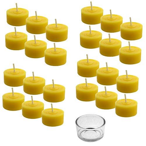 Toms Bienen 72 Teelichter mit 3 Glasschalen aus 100% reinem Bienenwachs