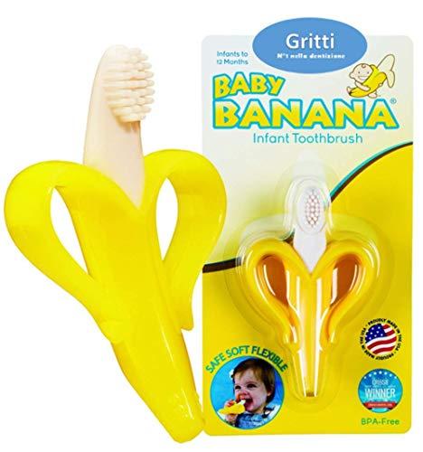 Gritti HappyBanana 3in1 - Massagiagengive e spazzolino per neonati con ebook GRATIS, massaggia gengive per neonati, dentaruolo, dentizione bambini e neonati, spazzolino neonati e bambini