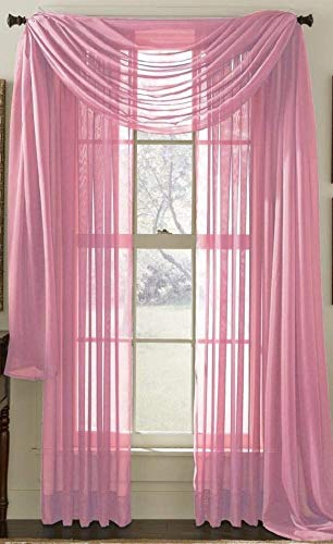 Bedding Haus Sheer Window Curtains (2 Panels) - 63 Inch Length - Decorative Solid Sheer/Voile Curtains - Rod Pocket - Solid Color - (Sheer 63, Pink)