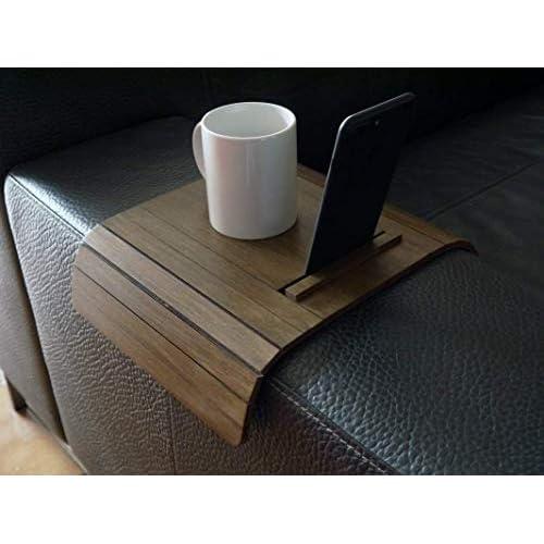 Mini tavolino laterale da bracciolo divano in legno con stand iphone e kindle paperwhite personalizzabile noce scuro Piccolo vassoio colorato lato poltrona per salotto moderno Tavolini soggiorno
