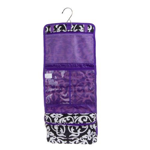 Damask Print Hanging Travel Cosmetic Bag (Black/White/Dark Purple)