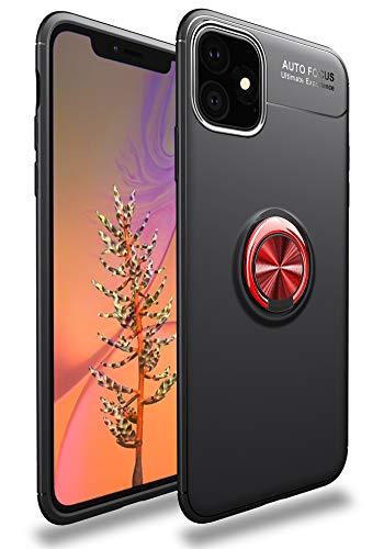 SORAKA Cover per iPhone 11(6,1 pollici) con anello rotante a 360 gradi,Custodia in Silicone Morbido Cover Anti-Impronta Ultrasottile con piastra metallica per Supporto Auto Smartphone Magnetico