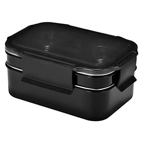 Edelstahl Lunchbox, Brotdose Schwarz Bamboo | Lunchbox Mit 2 Luftdichten FächernLebensmittelbehälterbesteck Und Isolierte Tasche | BPA-Frei | Für Erwachsene Kinder Spülmaschinen Mikrowellenfest Schule