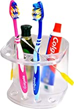 LOGGER - Acrylic Wall Mounted Toothbrush Toothpaste Bathroom Organizer Rack Stand (White)