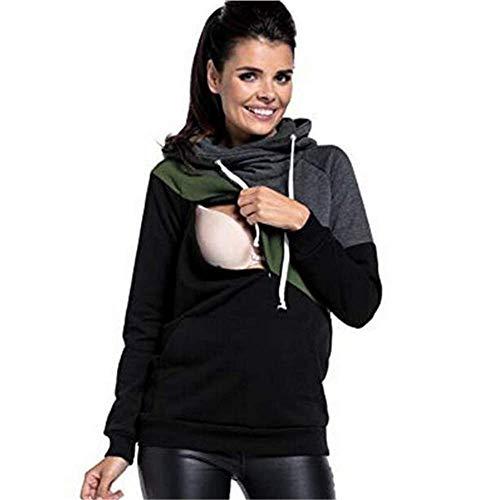 Beiersi Damen Umstandsmode Kapuzenpullover Langarm T-Shirt Stillshirt Schwanger Sweatshirts Umstandstop Stillpullover Hoodie Mutterschaft (44, Dunkelgrau)