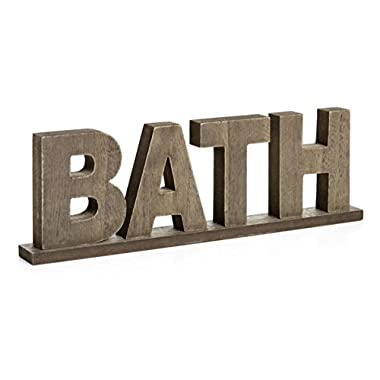 CVHOMEDECO. Rustic Vintage Distressed Wooden Words Sign Free Standing  BATH , Bathroom/Home Wall/Door Decoration Art, 11-3/4 L x 3-3/4 H x 1 T