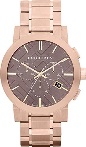 Burberry BBY1100 - Reloj cronógrafo para Hombre (Piel Negra), diseño de la Gran Bretaña