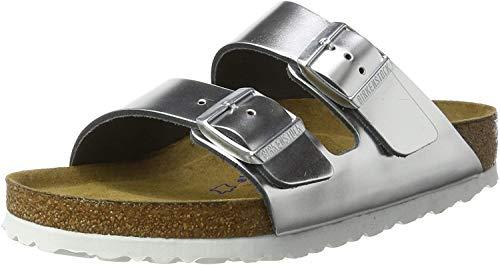 Birkenstock Classic Damen Arizona Leder Softfootbed Pantoletten, Silber (Metallic Silver), 41 EU
