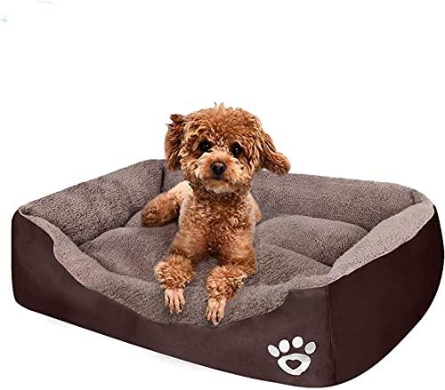 QUANCE Cuccia per cani, lavabile, comoda e sicura, divano per animali domestici, in puro cotone extra duro, traspirante, per cani e gatti di piccole e medie dimensioni (rown, M/54 x 42 cm, 15 kg)