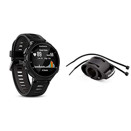 Garmin Forerunner 735XT-GPS-Uhr, schwarz/grau, M, 010-01614-06 & Fahrradhalterung für Sportuhren - einfache Montage