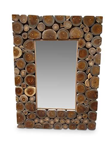Kinaree wandspiegel SARINGI - 80x60cm spiegel met teak - stukken als lijst - spiegel kan horizontaal en verticaal worden aangebracht ongeacht of de hal, slaapkamer of badkamer