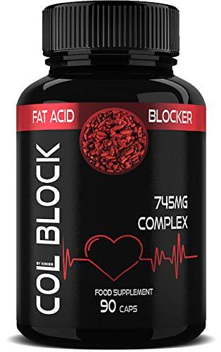 COL BLOCK Colesterolo 90 Compresse (3 mesi) – Monacolina K da Riso Rosso, Coenzima Q10, Gamma Orizanolo, Policosanoli, Zinco + Acido Folico