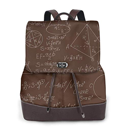 Yuanmeiju Womens Leather Backpack Mathematical Formulas On Brown Blackboard Shoulder Bookbag College Bag Girls