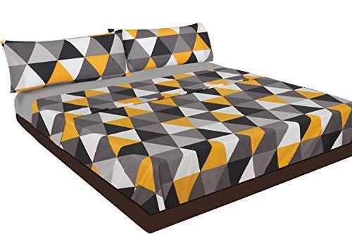 Juego de sábanas amarillas con estampado gris