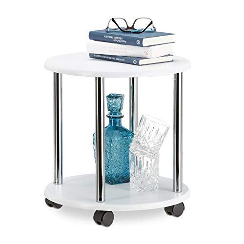 'Relaxdays 10021870_186 Tavolino da Salotto Legno Carrello con Ruote Multiuso Piccolo Tavolo Divano Carrellino HLP 41,5x40x40 cm Bianco '
