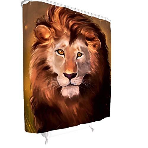 Charzee Douchegordijn met leeuwenkunst, antischimmel, hoogwaardige kwaliteit, douchegordijn met gordijnhaken, beste cadeau voor kinderen