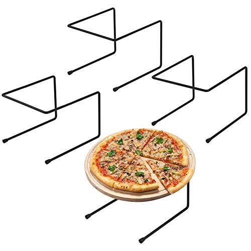 MyGift Set of 4 Black Metal Pizza Pan Riser Stands, Tabletop Food Platter Tray Display Racks
