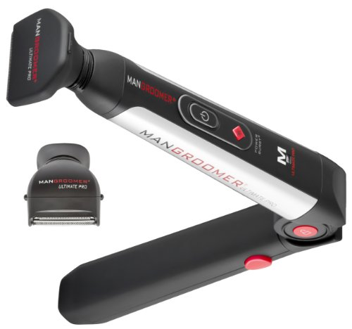 MANGROOMER Ultimate Pro Back Shaver with 2 Shock Absorber Flex Heads, Black and Red, 1 Count