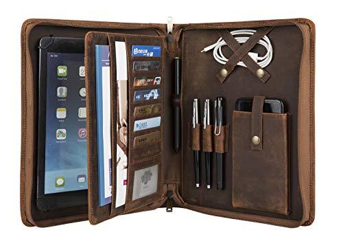 Konferenzmappe A5 mit Schreibmappe Leder Mappe für 10.2/10.5/9.7 Zoll iPad Pro, Dokumenten Organizer für Business Meeting/Büro/Schule
