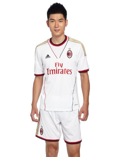 adidas Herren kurzärmliges Trikot AC Milan Away Jersey, White/Dark Football Gold, L