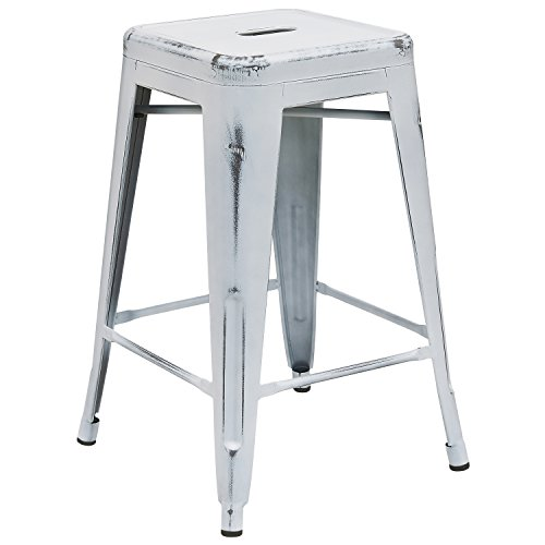 Flash Furniture 24'' High Backless Distressed White Metal Indoor-Outdoor Counter Height Stool