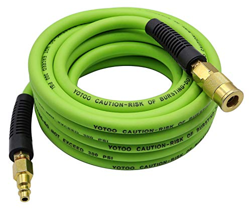 YOTOO Hybrid Air Hose 1/4-Inch by 25-Feet 300 PSI Heavy Duty, Lightweight, Kink Resistant, All-Weather Flexibility with 1/4-Inch Industrial Quick Coupler Fittings, Bend Restrictors, Green