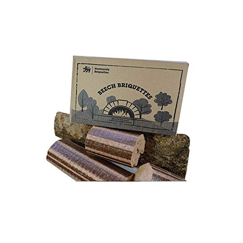 Normandy Beech Briquettes –12KG - Wood Burning Stove & Pizza Oven Firewood, Burns for up to 12 Hours - Very Hot & Long Burning Compressed Logs. 100% Natural Beech - Eco Friendly Fuel
