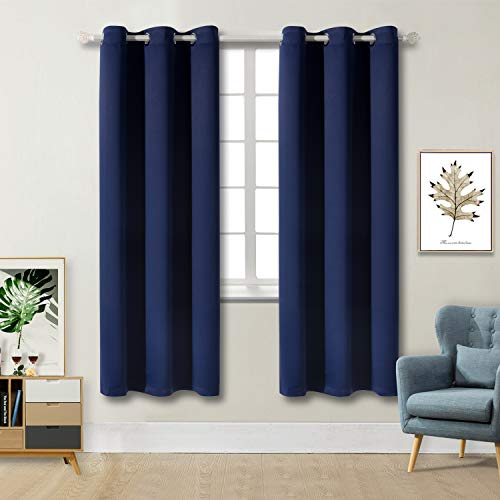 BGment Blackout Curtains for Living Room - Grommet Thermal Insulated Room Darkening Curtains for Bedroom, Set of 2 Panels (42 x 72 Inch, Navy Blue)