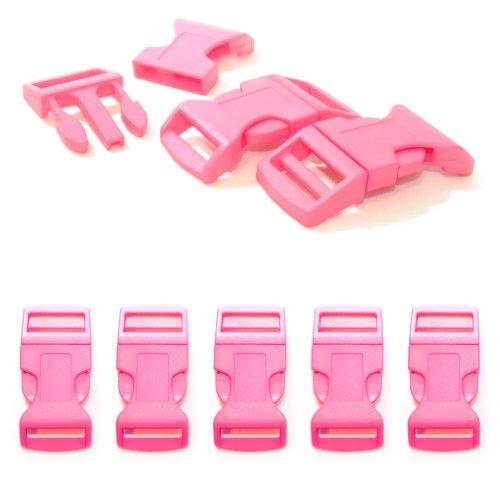 """Fermoir à clip en plastique, idéal pour les paracordes (bracelet, collier pour chien, etc), boucle, attache à clipser, grandeur: XL, 1"""", 65mm x 32mm, couleur: rose, de la marque Ganzoo - lot de 5 fermoirs"""