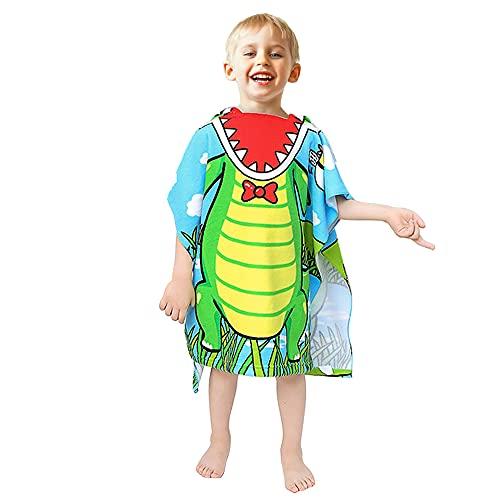 BIQIQI Poncho con capucha para niños, toalla de playa, albornoz y ducha, piscina para niñas, niños, niños y niños pequeños de 2 a 8 años (Cocodrilo)