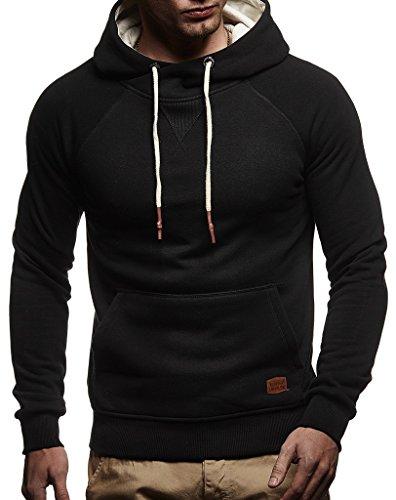 Leif Nelson Herren Pullover Hoodie mit Kapuze Moderner Sweatshirt-Pullover Langarm Sweatshirt Slim Fit LN8125 Schwarz Medium