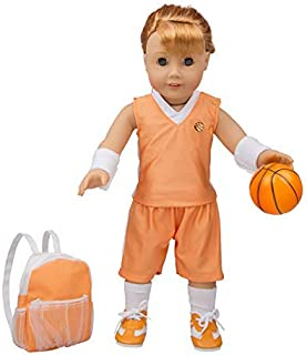 "Basketball Uniform Outfit for American Girl & 18"" Dolls (8 Piece Set) - Includes Premium Handmade Doll Clothes & Accessori..."