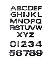 高品質の車の自動3Dクロームブラック文字または数字のエンブレムバッジステッカー0.98インチ2.5cm (Black,S)