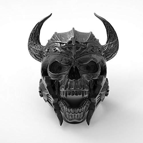 LH&BD Anillo De Cráneo De Cuerno Fresco De Hombre Cabina De Acero Inoxidable Motocicleta Motorista Zombie Vampire Skull Anillo Tamaño,7