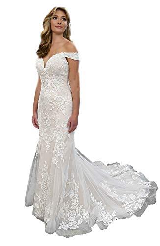 Off the Shoulder Sheer Back Trumpet Wedding Dress