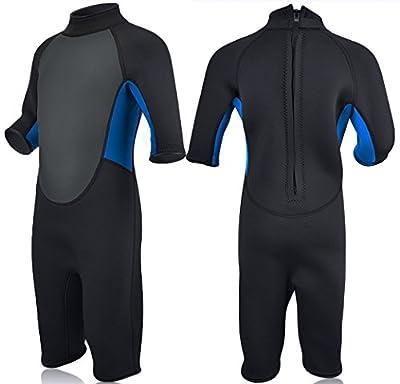 REALON Kids Wetsuit Shorty Full 3mm Premium Neoprene Lycra Swimsuit Toddler Baby Children and Girls Boys Youth Swim Surfing Snorkel Dive Snorkel Back Zip Suit (3mm Shorty Kid's/Blue, L)