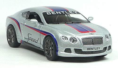 Kinsmart Bentley Continental GT Speed  Rally 2012 Metálico Coche Plata Color 1:38 Escala (13cm) Pue