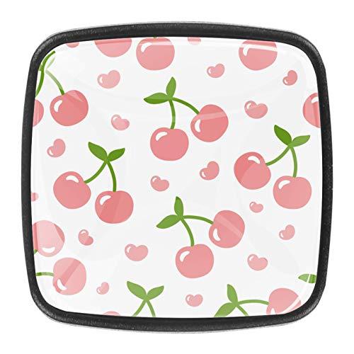 [4 unidades] pomos de cristal para cajón de armario, tiradores de cristal, diseño de cerezas, color coral rosa