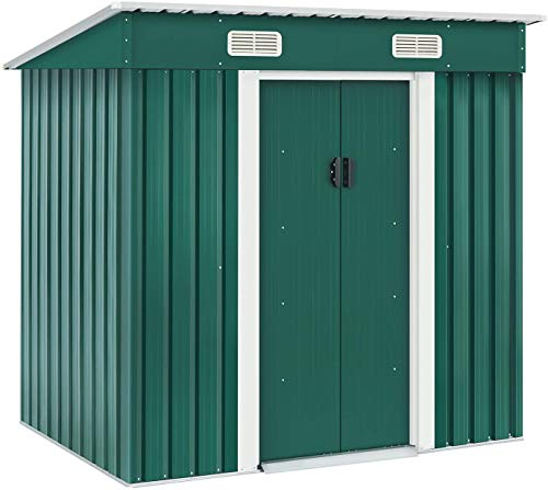 Skiway 4' × 6' Outdoor Storage Shed Kit-Perfect for Patio Furniture, Garden Tools Bike Accessories, Beach Chairs and Lawn Mowe,Weather Resistance(Green)