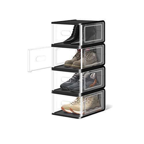 Zapatero Cajas de almacenamiento de zapatos transparentes (5 paquetes) Organizadores de almacenamiento de zapatos apilables Guardar espacio Plastic Shoe Rack Standing Storage Organizador Organizador p