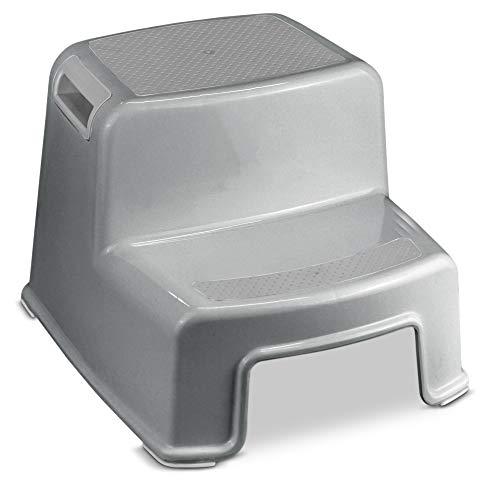 Healthy Toilet Pro - Zweistufiger Tritthocker 36x33x26cm grau