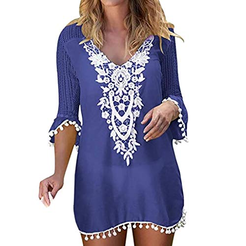 Cover Up Playa Mujer 2019 Nuevo SHOBDW Pareos Bikini Cover Up Mujer Vestido Verano Cuello en V Color Sólido Borla Tops Blusa Suelto Tallas Grandes S-XXL(Azul,L)