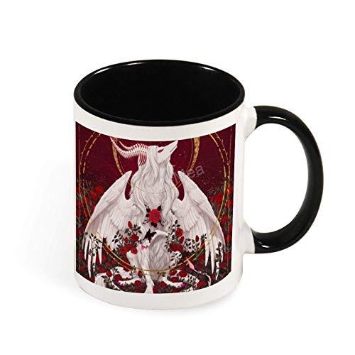 N\A Tazas de café Divertidas, tamaño Grande, Taza de café Tostada con Rosas Mourir, Taza de 11 onzas, Blanco y Negro